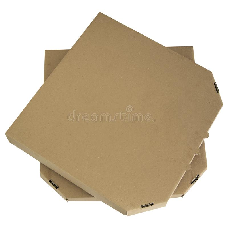 Pizza boxes stack isolated. Top angle view of brown cardboards on white background. Template empty package. stock images