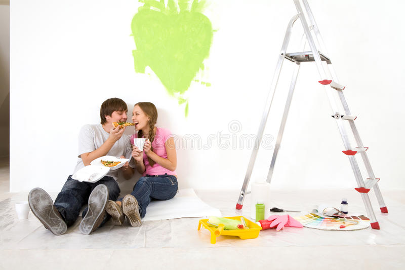 Pizza break royalty free stock photos