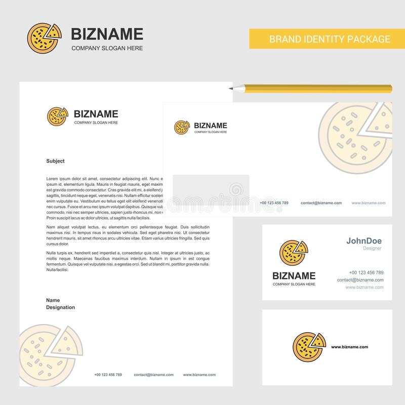 Pizza Business Letterhead, Envelope and visiting Card Design vector template royalty free illustration