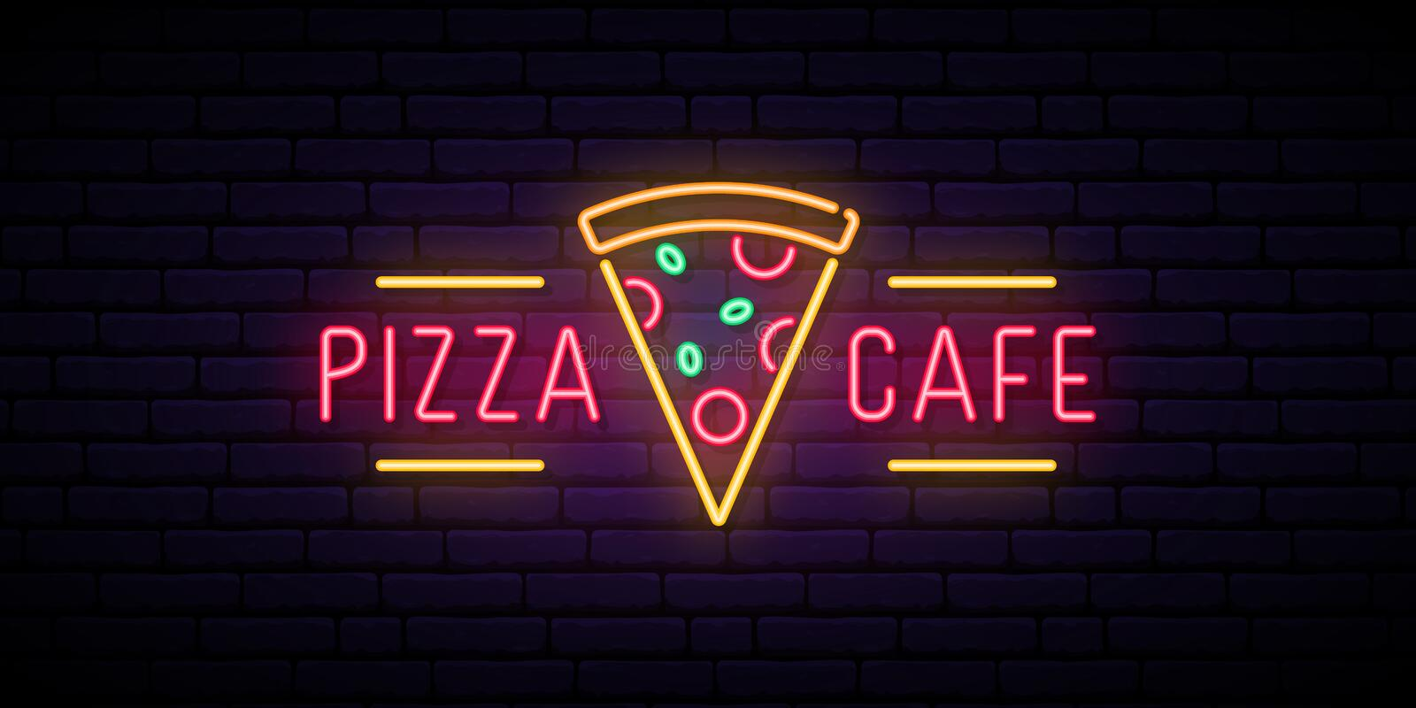 Pizza cafe neon sign. Bright advertising signboard for cafe, bar, restaurant. Pizza emblem. Vector illustration in neon style royalty free illustration