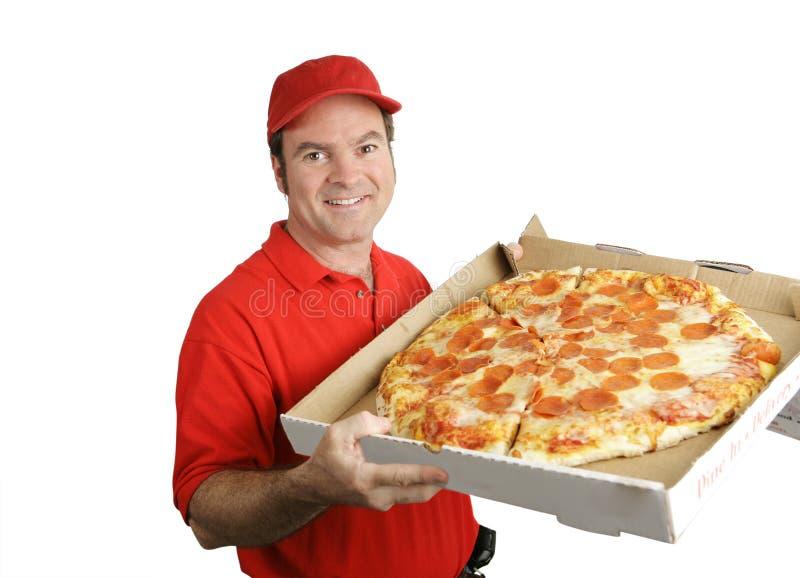 Pizza caliente fresca entregada fotografía de archivo