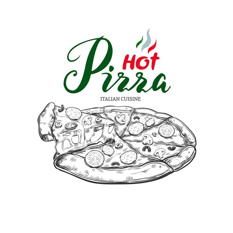 Pizza caliente Mano del vector dibujada libre illustration
