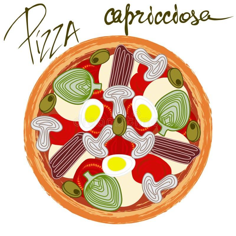Pizza capricciosa with handwritten caption. Pizza capricciosa image on white background with handwritten caption. Vector illustration eps 10 stock illustration