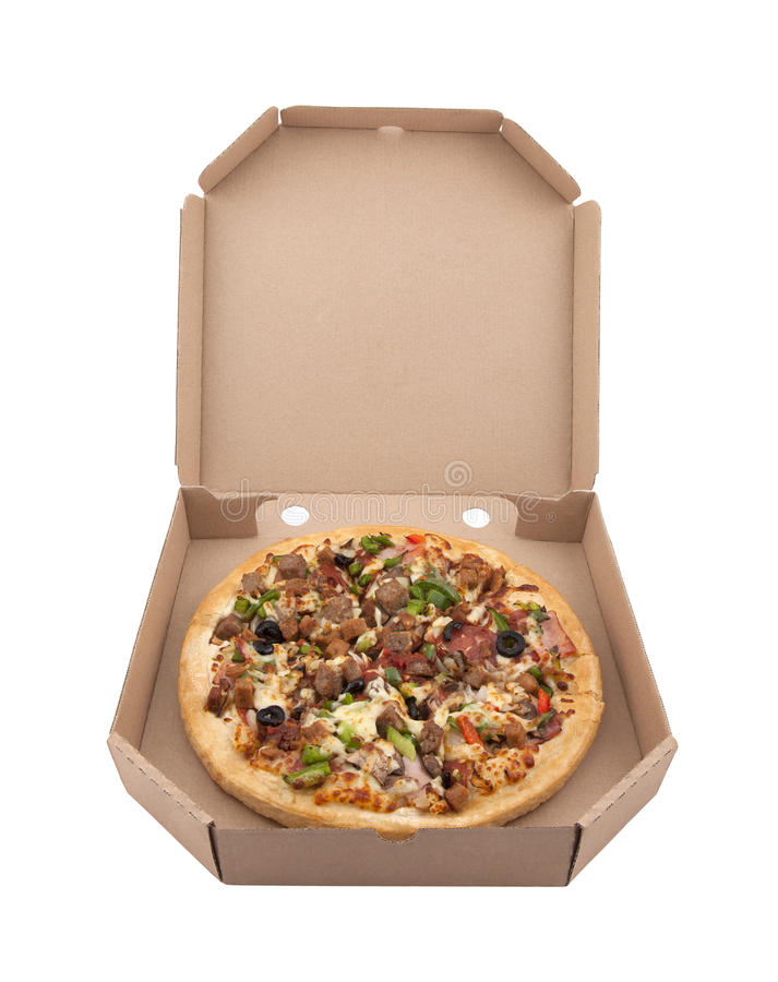 Pizza In A Cardboard Box Stock Images