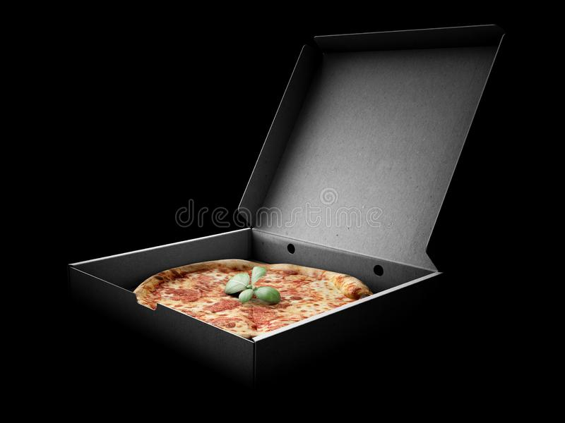 Pizza in a cardboard box against a dark background. Pizza delivery or Pizza menu content. 3d Illustration. Pizza in a cardboard box against a dark background stock image
