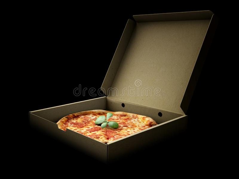 Pizza in a cardboard box against a dark background. Pizza delivery or Pizza menu content. 3d Illustration. Pizza in a cardboard box against a dark background royalty free stock photo