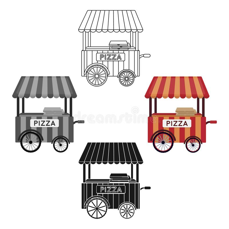 Pizza cart icon in cartoon,black style isolated on white background. Pizza and pizzeria symbol stock vector illustration stock illustration