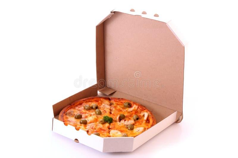 Pizza in casella immagine stock libera da diritti