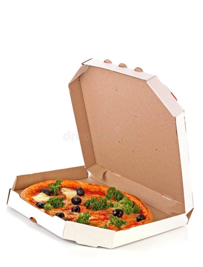 Pizza in casella sopra bianco fotografia stock libera da diritti