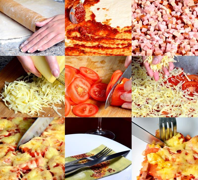Pizza che fa collage fotografie stock libere da diritti