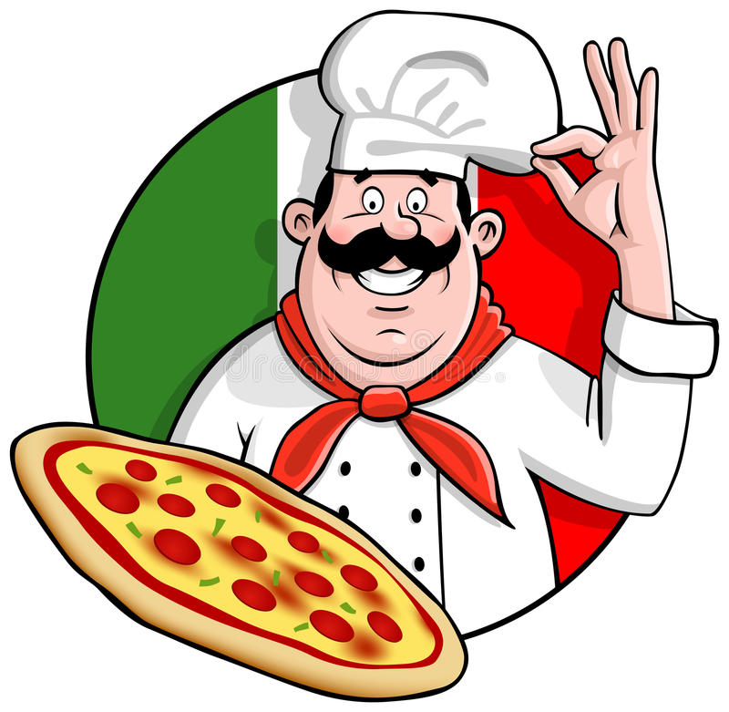 Pizza Chef. Illustration of a cartoon italian chef with the perfect freshly baked pizza Comes in an easy edit layered illustrator CS file