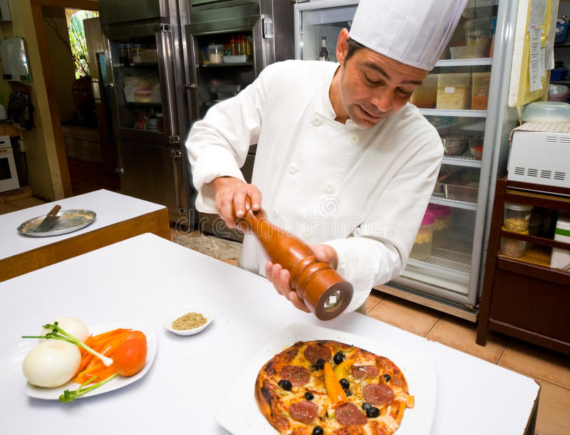 Pizza-Chef lizenzfreies stockbild