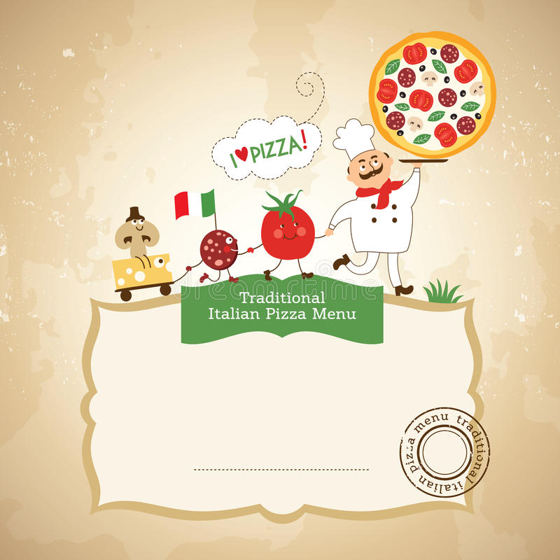 Download Pizza and chef stock illustration. Image of frame, italian - 30529819