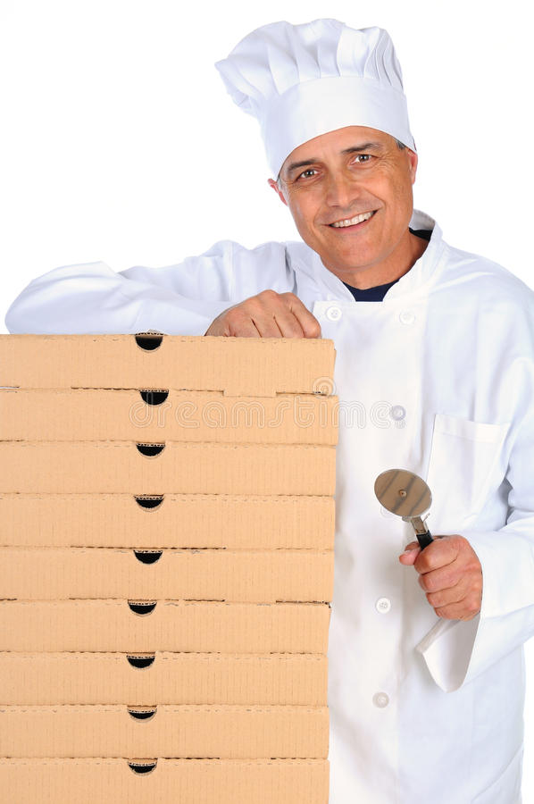 Pizza Chef Leaning On Boxes Royalty Free Stock Image