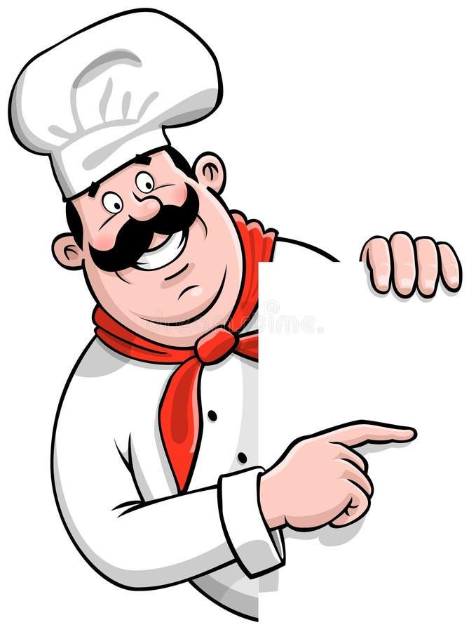 Pizza-Chef mit einem unbelegten Zeichen stock abbildung