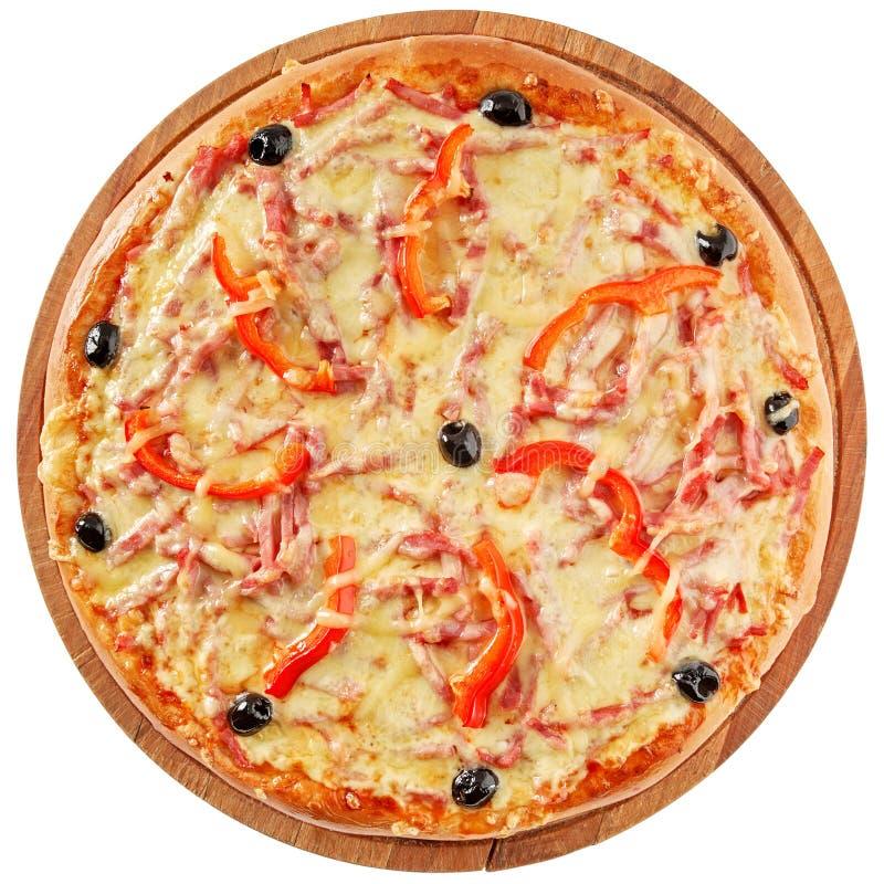 Pizza clássica com tomates e pimenta vermelha foto de stock