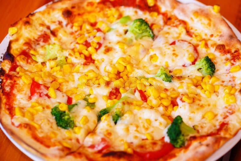 Pizza cocida fresca, profundidad del campo baja fotografía de archivo