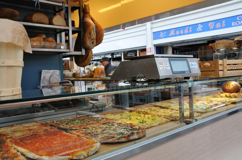 Pizza and cold cuts shop in Rome stock images