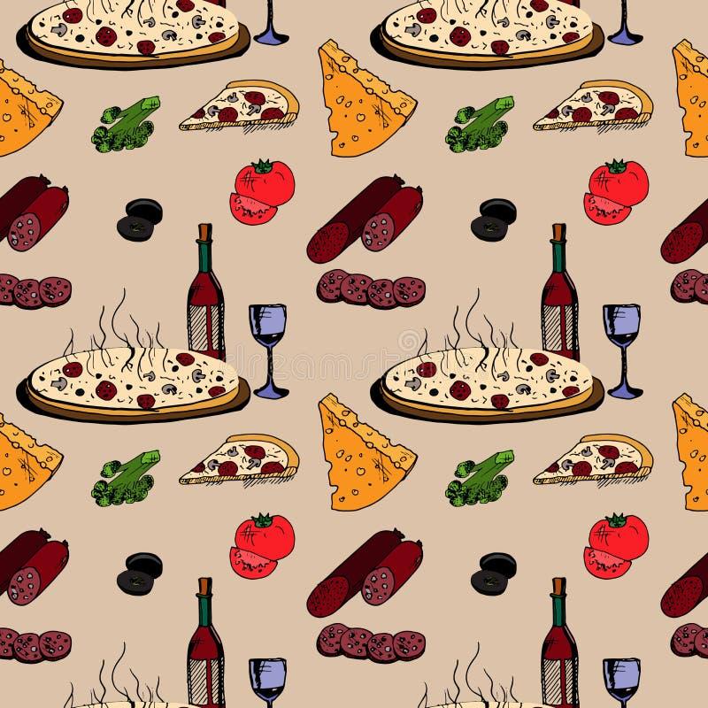 Pizza com alimento ilustração do vetor