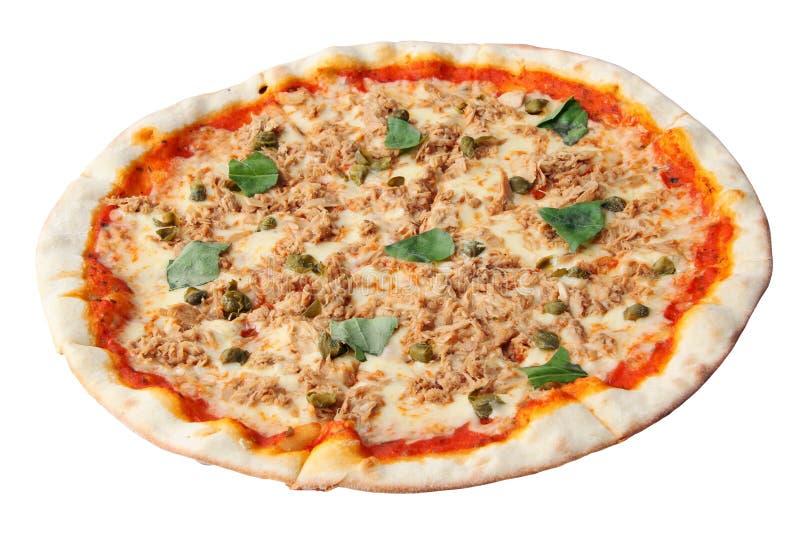 Pizza com atum e alcaparras foto de stock