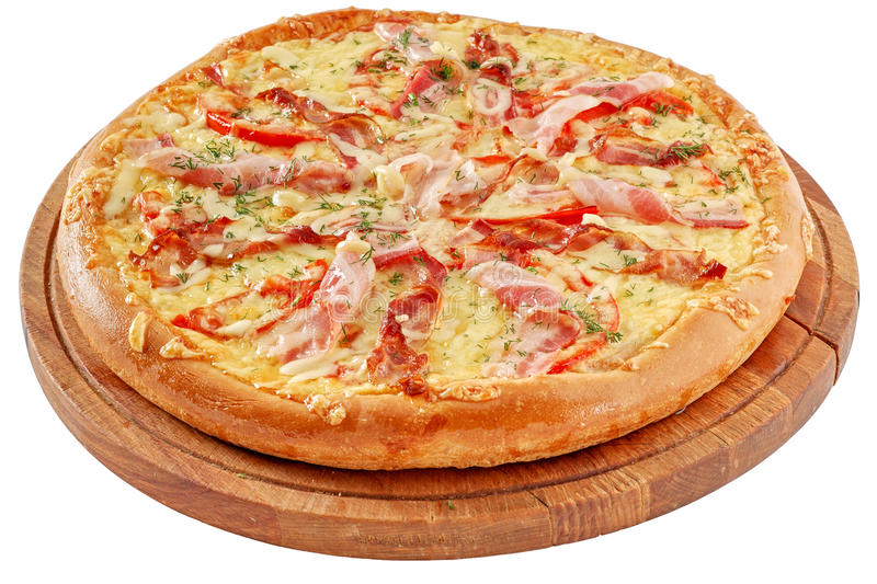 A pizza com bacon e chiken fotos de stock