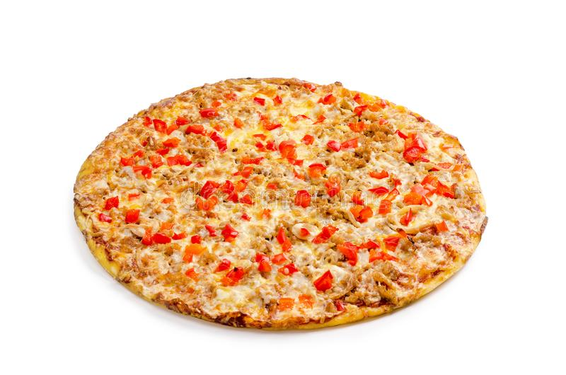 Pizza com carne de porco triturada, pimenta doce, massa tabajan, molho do pomodoro, queijo, verdes foto de stock