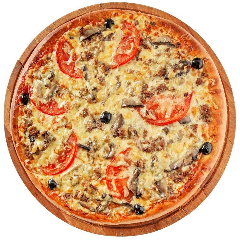 Pizza com carne e os cogumelos triturados fotos de stock