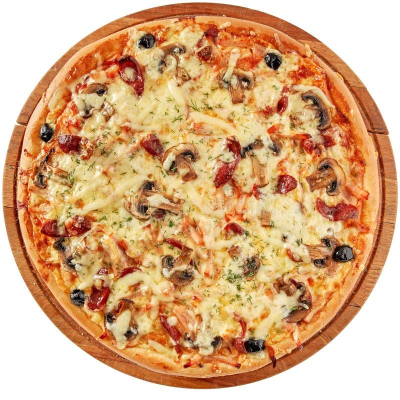 Pizza com carne fumado e cogumelos imagem de stock royalty free