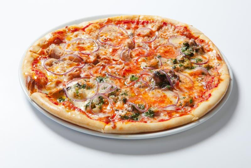 Pizza com cebola, presunto, queijo e tomate Fundo branco foto de stock royalty free