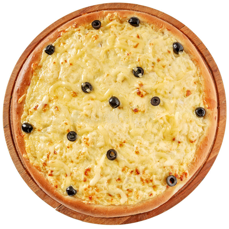 Pizza com galinha e queijo creme foto de stock