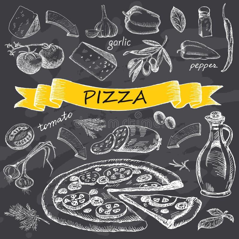 Pizza com grupo de ingredientes com fita amarela ilustração do vetor