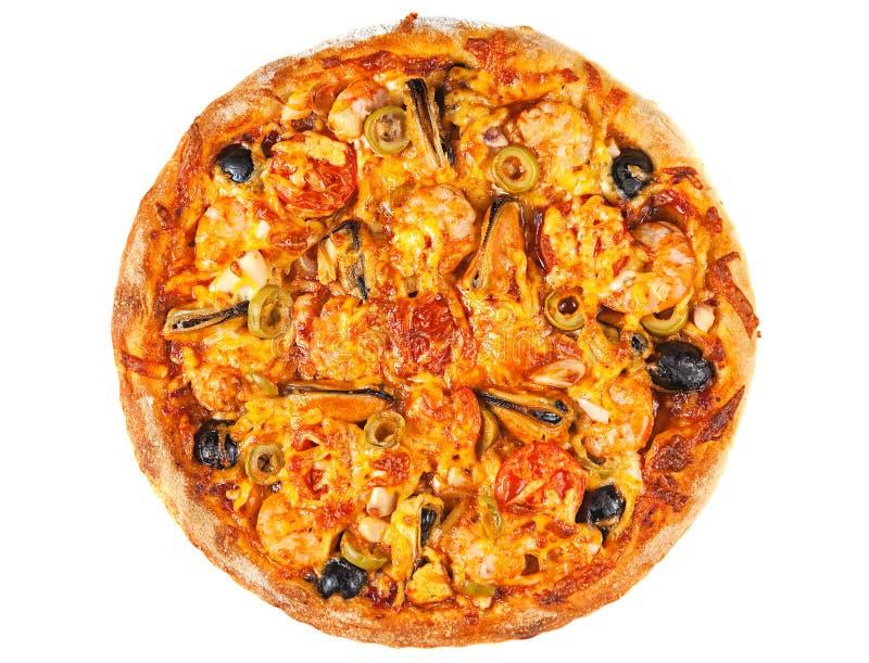Pizza com marisco fotografia de stock