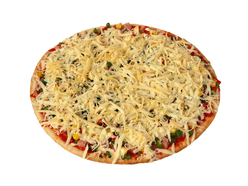 Pizza com o bacon e os vegetais, semiacabados fotos de stock royalty free