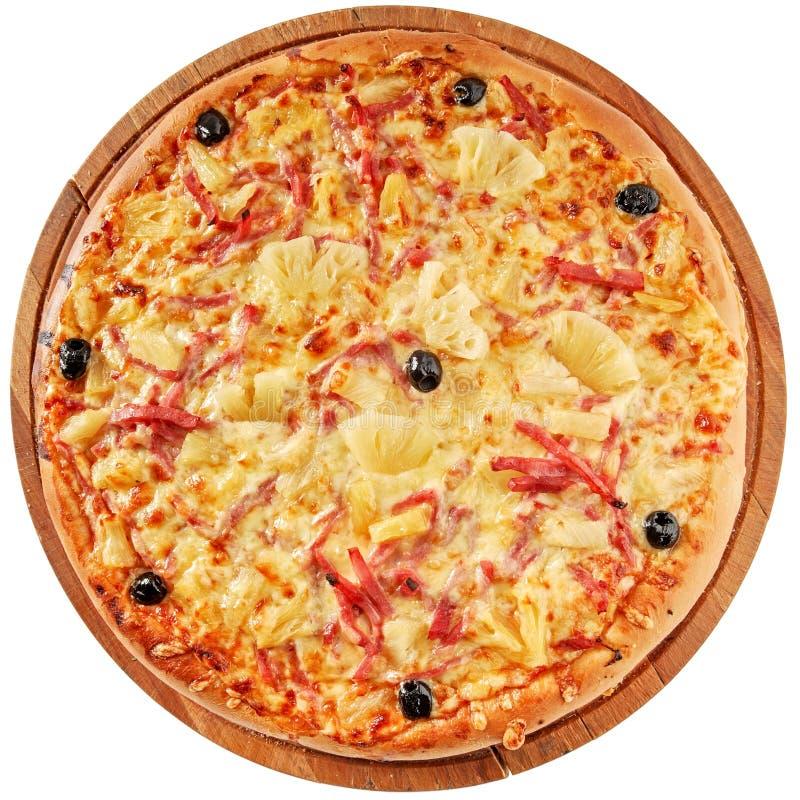Pizza com presunto e abacaxi fotografia de stock royalty free