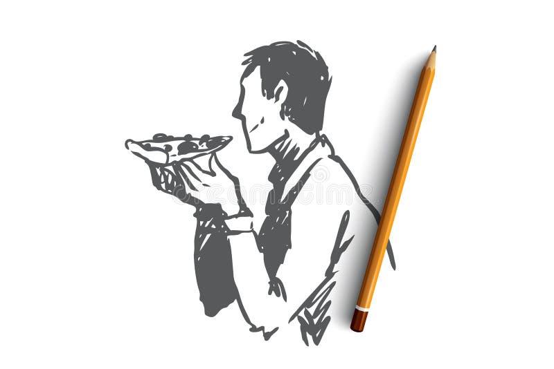 Pizza, comida, hombre, concepto del bocado Vector aislado dibujado mano libre illustration