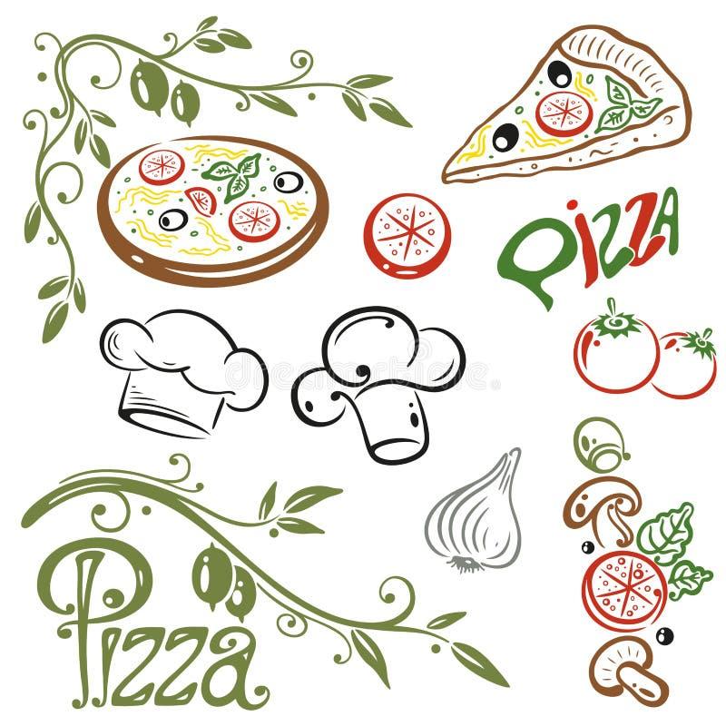 Pizza, comida italiana stock de ilustración