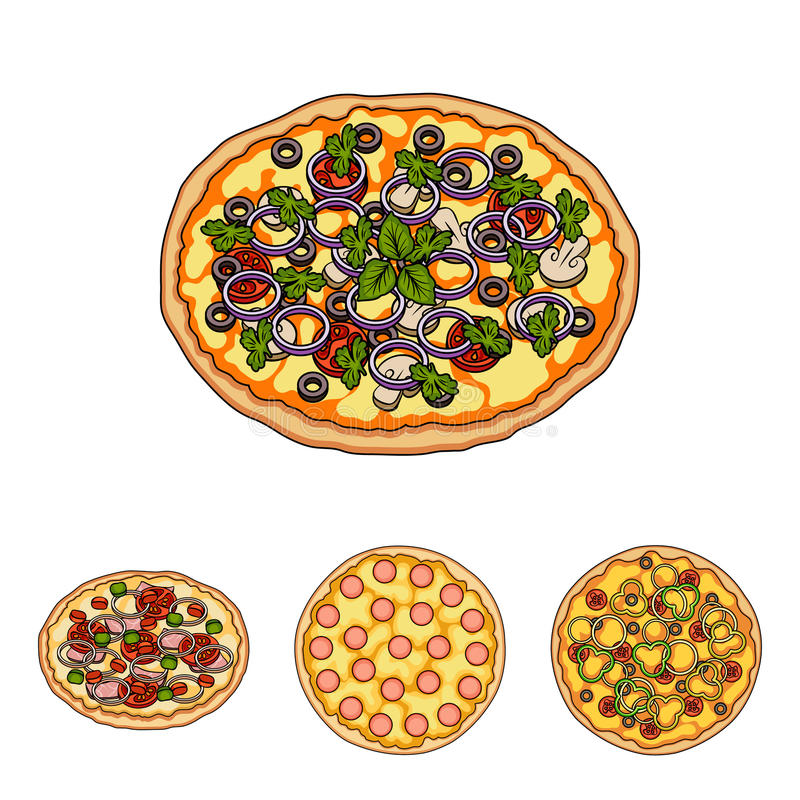 Pizza con carne, formaggio e l'altro materiale da otturazione Le icone stabilite della raccolta della pizza differente nello stil illustrazione vettoriale