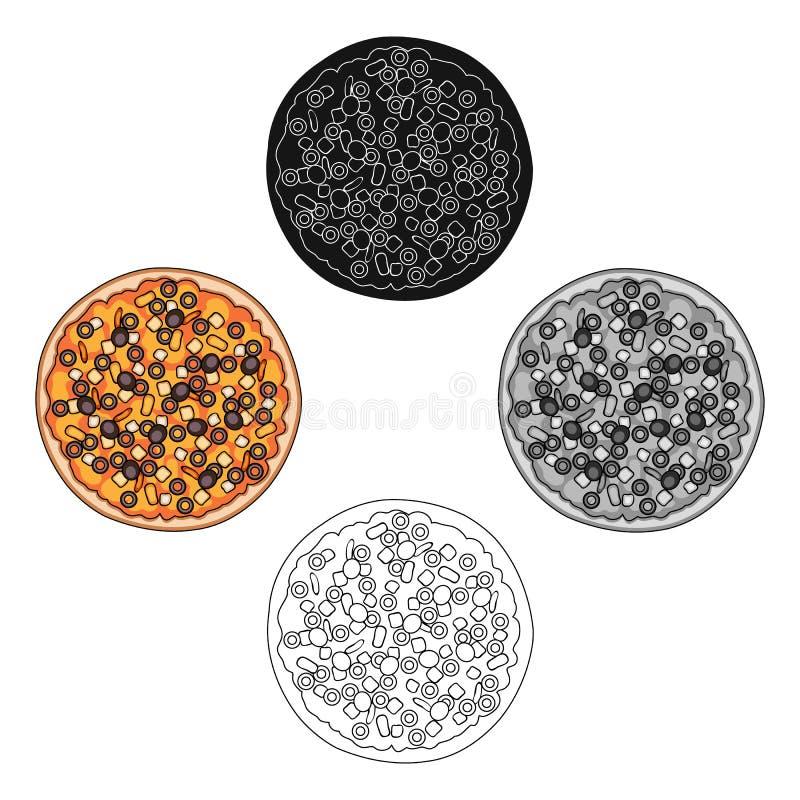 Pizza con carne, formaggio e l'altro materiale da otturazione Singola icona della pizza differente nel fumetto, azione nere di si royalty illustrazione gratis