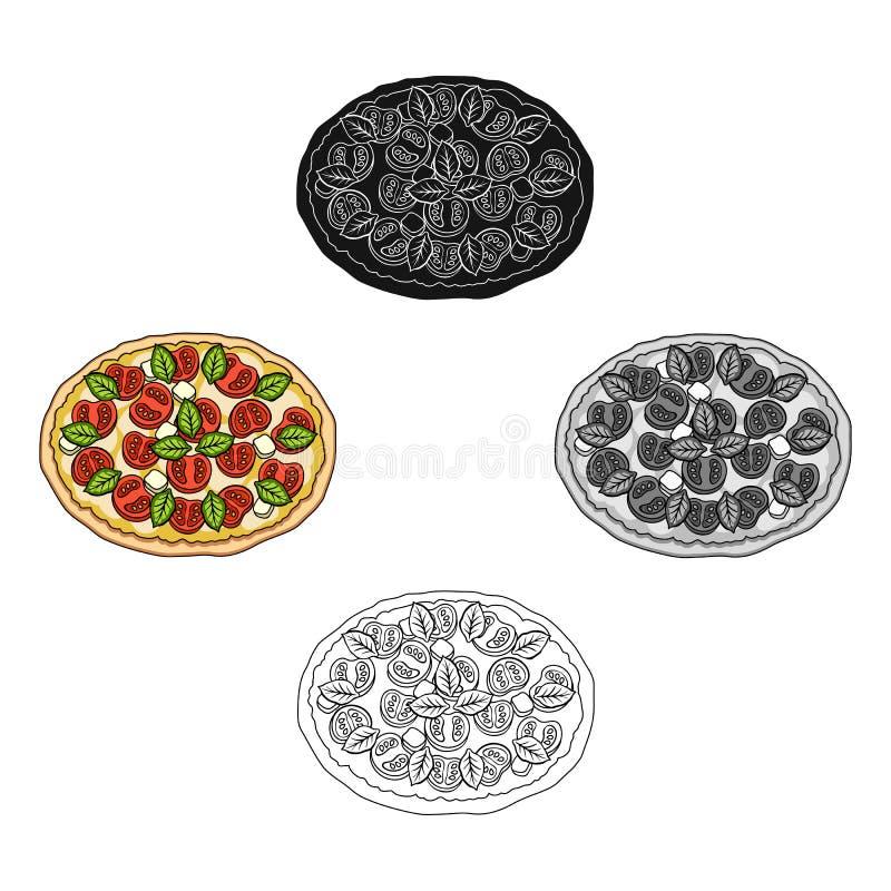 Pizza con carne, formaggio e l'altro materiale da otturazione Singola icona della pizza differente nel fumetto, azione nere di si illustrazione di stock