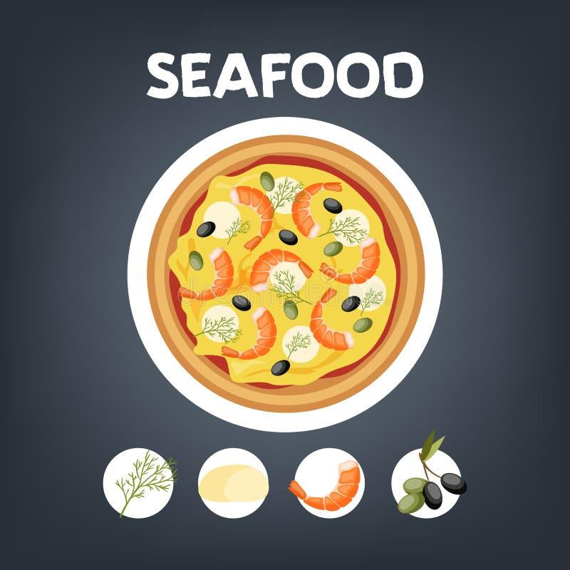 Pizza con el camarón Comida italiana con queso stock de ilustración