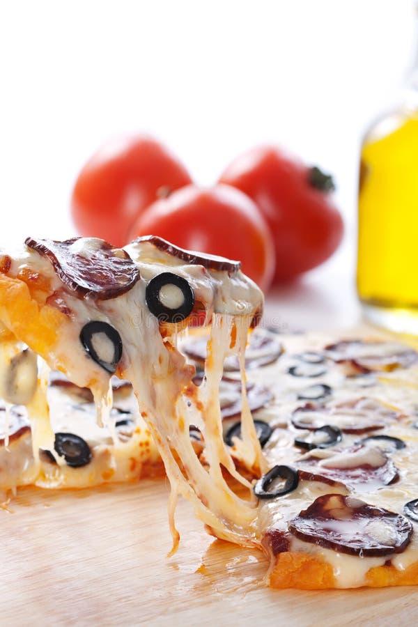 Pizza con formaggio fuso fotografia stock