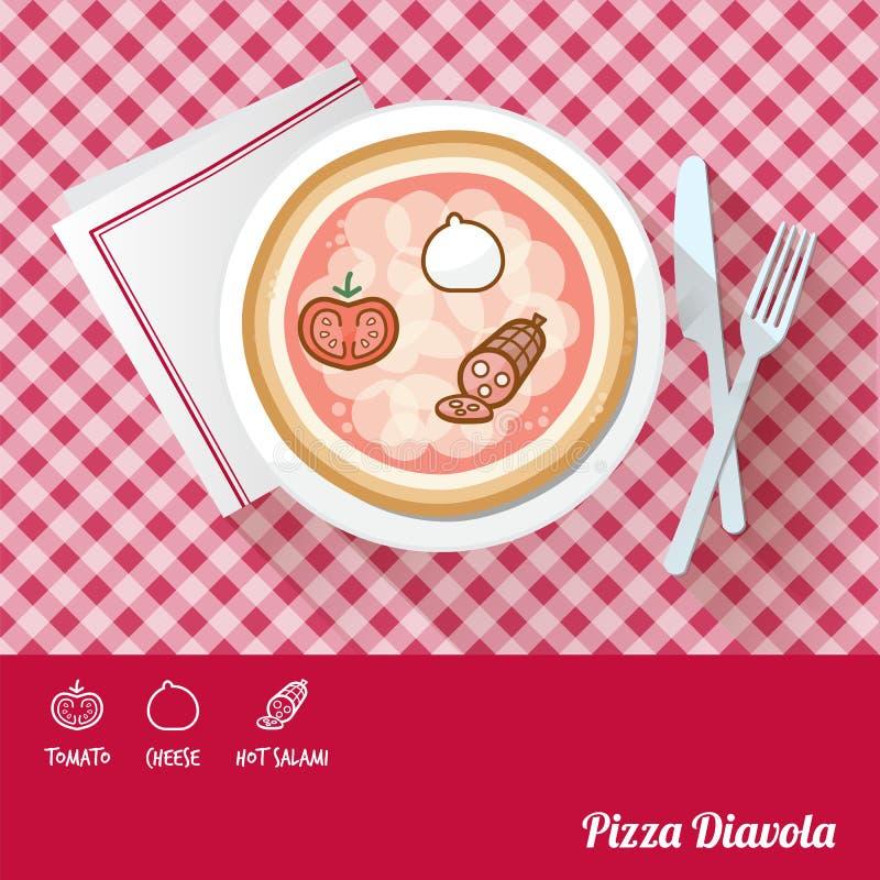 Pizza con gli ingredienti illustrazione vettoriale