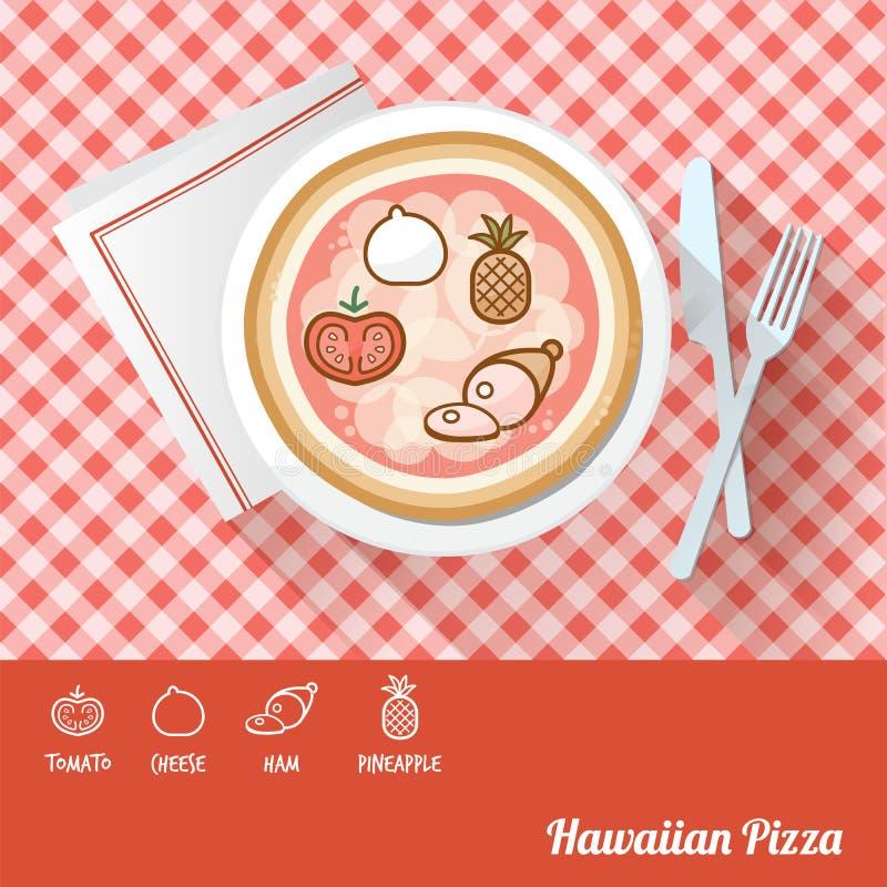 Pizza con gli ingredienti illustrazione di stock