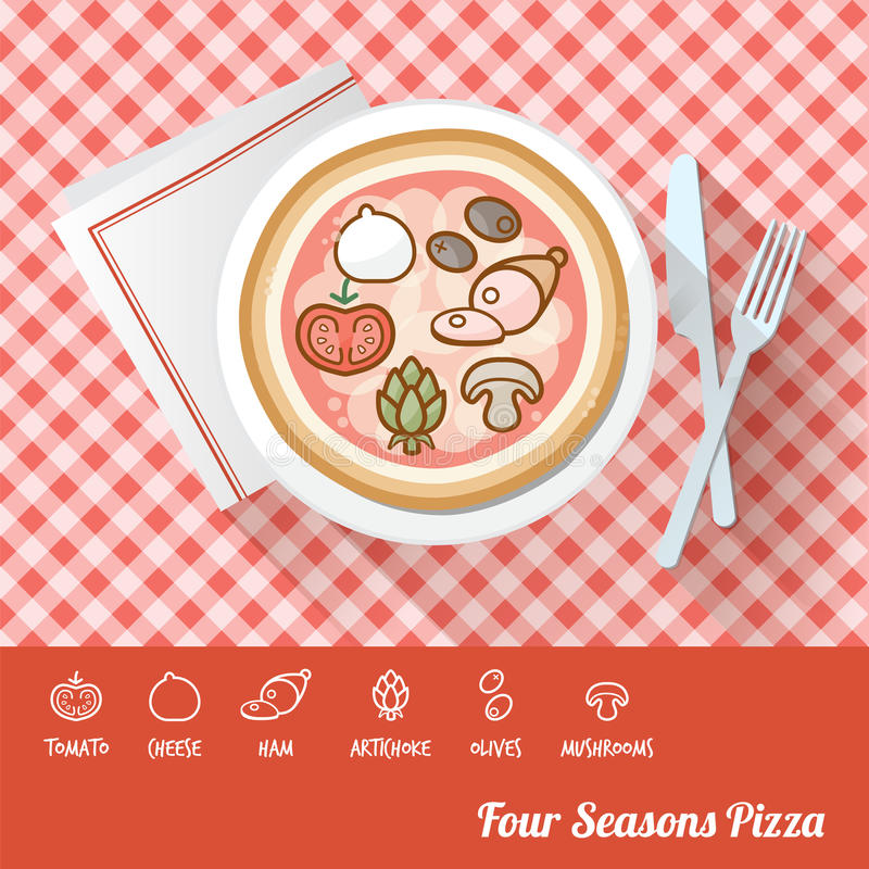 Pizza con gli ingredienti royalty illustrazione gratis