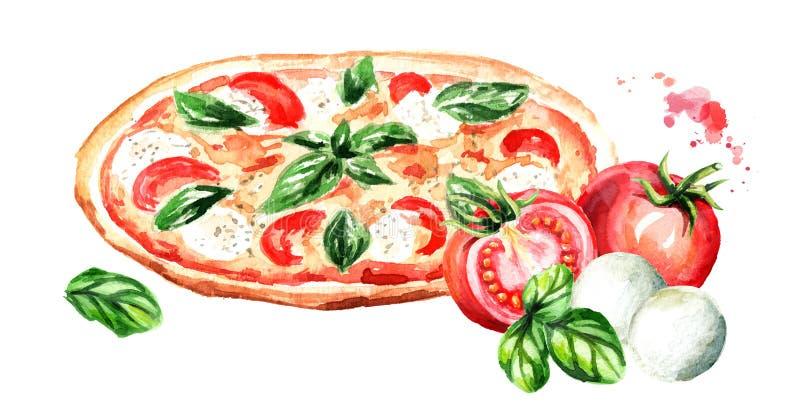 Pizza con i pomodori, il formaggio della mozzarella e le foglie del basilico Illustrazione disegnata a mano dell'acquerello isola illustrazione vettoriale