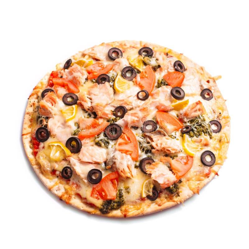Pizza con il salmone fotografie stock