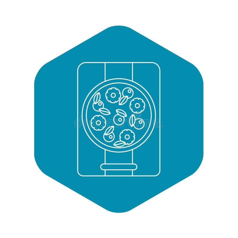 Pizza con l'icona del basilico e dell'ananas, stile del profilo illustrazione vettoriale