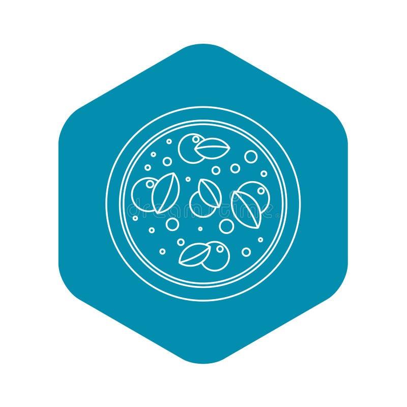 Pizza con l'icona del basilico, stile del profilo royalty illustrazione gratis