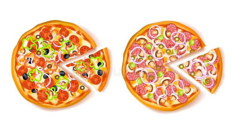 Pizza con la composición de la rebanada ilustración del vector