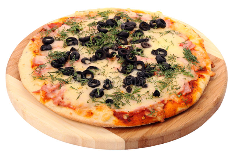 Pizza con las aceitunas fotos de archivo